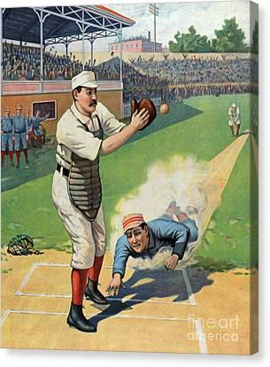 Vintage Baseball Art Canvas Print