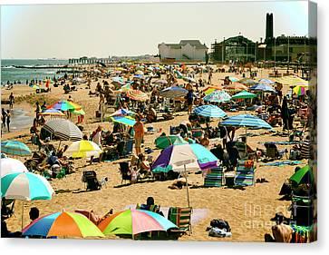 Canvas Print - Vintage Beach Day At Asbury Park by John Rizzuto