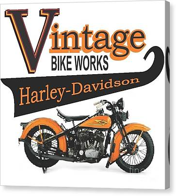 Robert Morrissey Canvas Print - Vintage Bike Works 1934 Harley Davidson Vld by Robert Morrissey