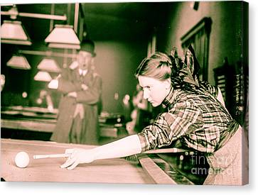Vintage Billiards Girl Shooting Pool Canvas Print by Mindy Sommers