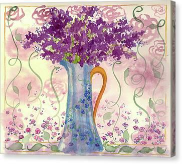 Canvas Print featuring the painting Vintage Blue Flower Bouquet by Cathie Richardson