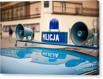 Vintage Blue Militia Car Cherry Canvas Print by Arletta Cwalina