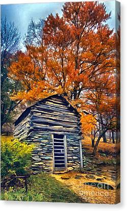 Vintage Blue Ridge Parkway Cabin In Autumn Ap Canvas Print