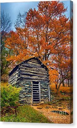 Vintage Blue Ridge Parkway Cabin In Autumn Canvas Print by Dan Carmichael