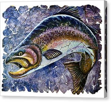 Vintage Blue Trout Fresco  Canvas Print by Lena  Owens OLena Art