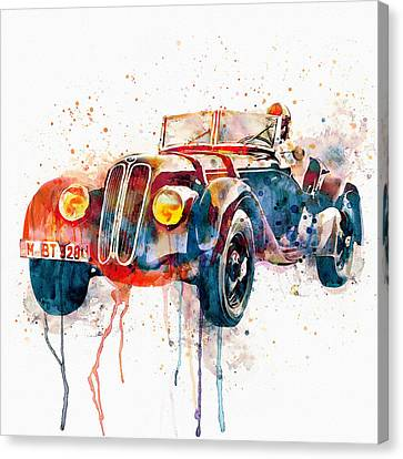 Vintage Bmw Watercolor Canvas Print by Marian Voicu