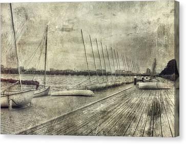 Vintage River Scenes Canvas Print - Vintage Boston Mit Sailing Pavilion by Joann Vitali