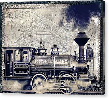 Vintage Boston Railroad Canvas Print by Mindy Sommers
