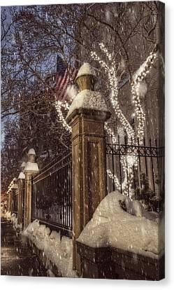 Vintage Boston Sidewalk In Winter Canvas Print by Joann Vitali