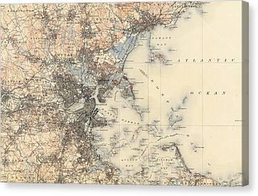Vintage Boston Transit Line Map - 1914 Canvas Print by CartographyAssociates