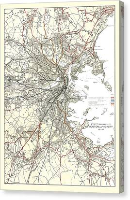 Vintage Boston Transit Line Map  Canvas Print by CartographyAssociates