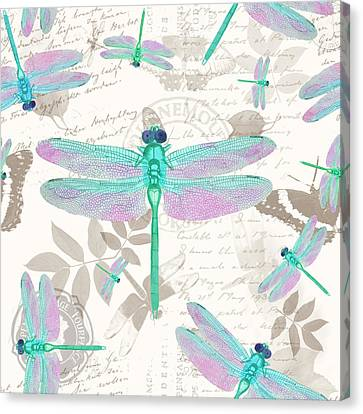 Vintage Botanicals Collection Sea Foam Green, Pink Dragonflies Canvas Print