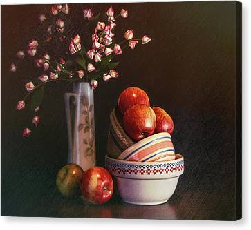 Vintage Bowls With Apples Canvas Print