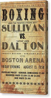 Sullivan Canvas Print - Vintage Boxing Poster John L Sullivan Vs James Dalton by Bill Cannon
