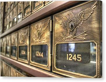 Vintage Brass Post Offic Mail Box Federal Eagle Postal Usps Canvas Print by Jane Linders