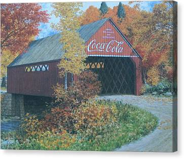 Vintage Bridge American Coca Cola Canvas Print by Jake Hartz
