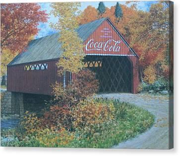Vintage Bridge American Coca Cola Canvas Print by Jake Hartz