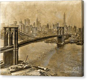 Vintage Brooklyn Bridge To Manhattan Canvas Print