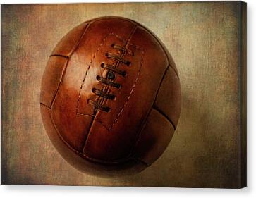 Vintage Brown Soccer Football Canvas Print by Garry Gay