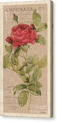 Vintage Burlap Floral Canvas Print by Debbie DeWitt