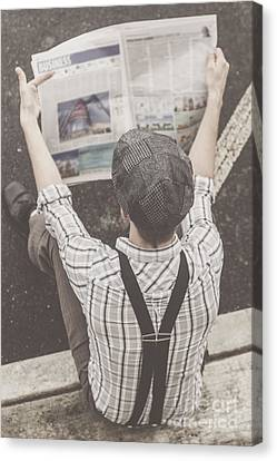 Vintage Businessman Reading Business News Canvas Print by Jorgo Photography - Wall Art Gallery
