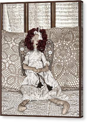 Vintage Button Angel Doll On Crocheted Spread Canvas Print by Mitch Spence