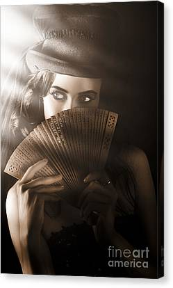 Vintage Cabaret Show Girl In Stage Spotlight Canvas Print by Jorgo Photography - Wall Art Gallery