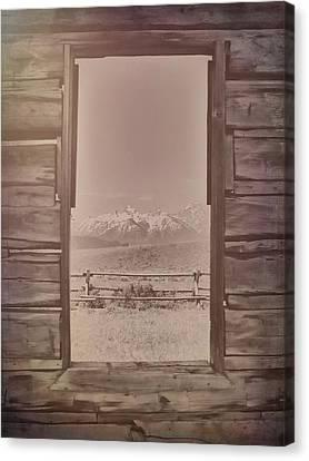 Vintage Cabin Window In Grand Tetons Canvas Print