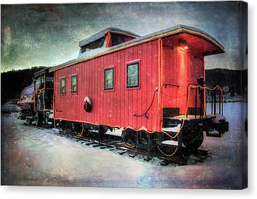 Canvas Print featuring the photograph Vintage Caboose - Winter Train by Joann Vitali