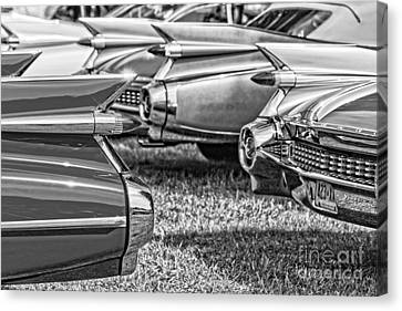Vintage Cadillac Caddy Fin Party Black And White Canvas Print