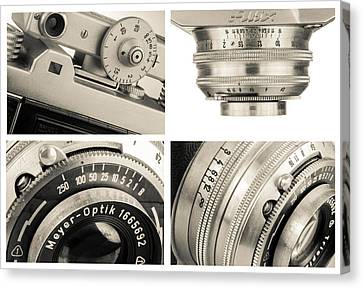 Vintage Camera - Collage Canvas Print by Rudy Umans