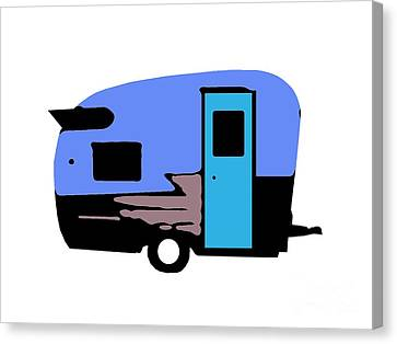 Vintage Camper Trailer Pop Art Blue Canvas Print
