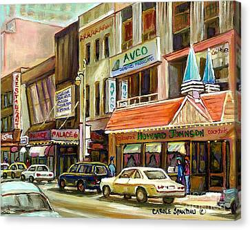 Vintage Canadian Scenes Original Art Downtown Montreal Paintings For Sale Howard Johnson's Resto  Canvas Print by Carole Spandau