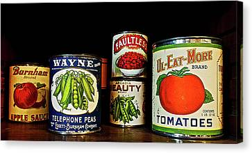 Vintage Canned Vegetables Canvas Print by Joan Reese