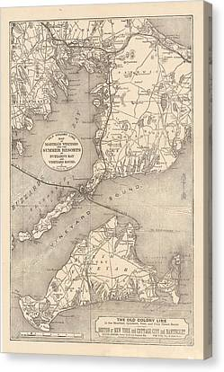 Vintage Cape Cod Old Colony Line Map  Canvas Print by CartographyAssociates