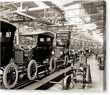 Vintage Car Assembly Line Canvas Print by American School