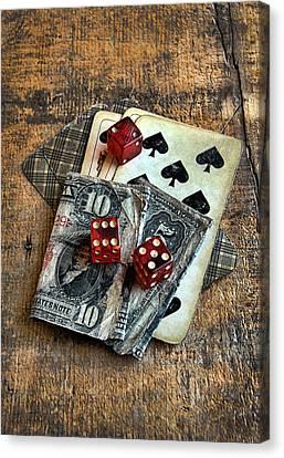 Vintage Cards Dice And Cash Canvas Print by Jill Battaglia