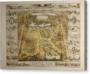Vintage Central Park Nyc Pictorial Map  Canvas Print by Adam Shaw