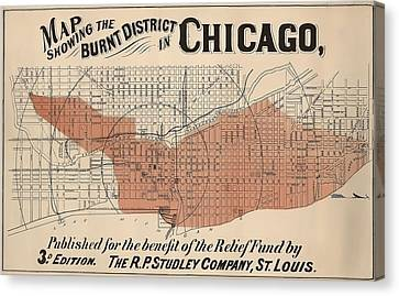 Vintage Chicago Fire Map Canvas Print
