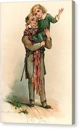 Vintage Christmas Card Depicting Bob Cratchit Carrying Tiny Tim Canvas Print
