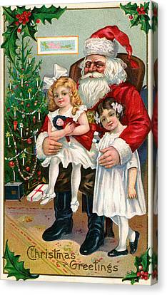 Vintage Christmas Card Depicting Two Victorian Girls With Santa Claus Canvas Print