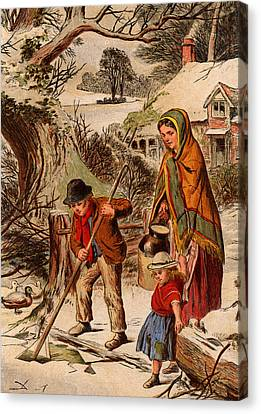 Vintage Christmas Card Canvas Print by Unknown
