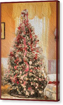 Canvas Print featuring the photograph Vintage Christmas Tree In Classic Crimson Red Trim by Shelley Neff