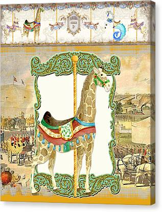 Vintage Circus Carousel - Giraffe Canvas Print by Audrey Jeanne Roberts