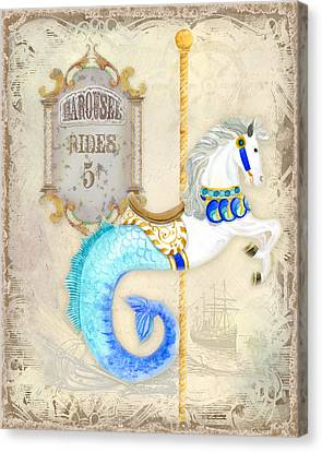 Vintage Circus Carousel - Seahorse Canvas Print by Audrey Jeanne Roberts