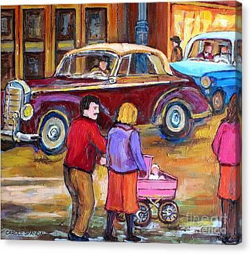 Vintage Classic 1946 Car Painting  Downtown Street Montreal Canadian Painting Carole Spandau         Canvas Print
