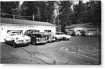 Canvas Print featuring the photograph Vintage Classic Cars In Black And White by Trina Ansel