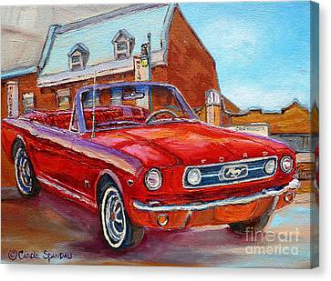 Vintage Classic Cars Paintings Red Mustang At The Diner Montreal Canadian Art Carole Spandau         Canvas Print by Carole Spandau