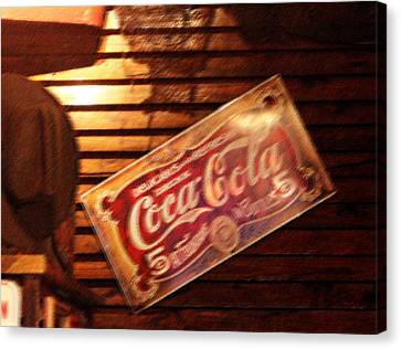 Vintage Coca Cola Sign Canvas Print by Linda Phelps