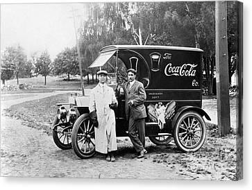 Old Trucks Canvas Print - Vintage Coke Delivery Truck by Jon Neidert